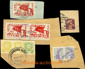 42865 - 1945 comp. of 5 cut-squares with stamps Mi.53, 78, 81, 82, 8