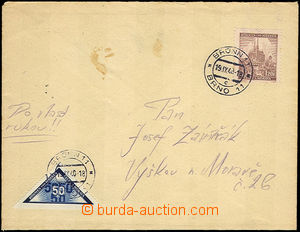 42879 - 1940 Delivery stmp,   letter to own by hand, with 1,20 Korun