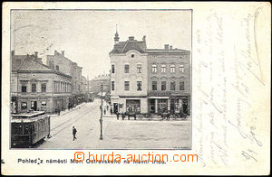 42882 - 1902 Moravská Ostrava, čb pohled z náměstí do ulice, tramvaj