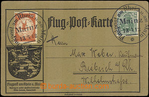 42887 - 1912 flight Post Karte franked with. airmail stamp 10Pf, Mi.