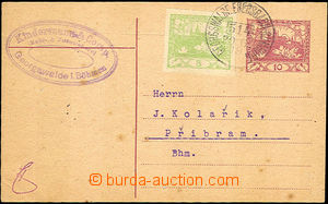 42980 - 1919 CDV10 with uprated with stamp Pof.3, Austrian postmark