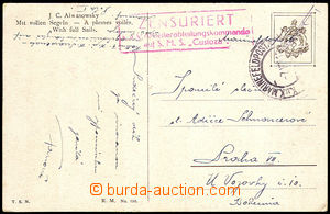42994 - 1918 S.M.S. Custoza, frame censorship mark in red color, CDS