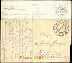 42997 - 1914 2x postcard from start war, 1x with CDS Písek/ 29.7.14