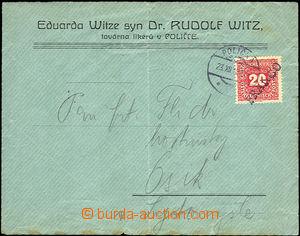 43000 - 1918 firemní dopis vyfr. rakouskou doplatní zn. Mi.P50 (20h)