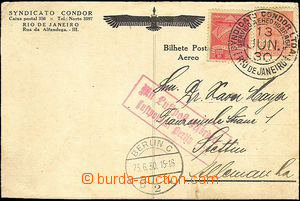 43056 - 1930 air-mail card to Germany, franked with.  issue for Cond