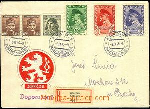 43066 - 1945 R dopis s bohatou frankaturou 6 známek a 3x PR KLATOVY