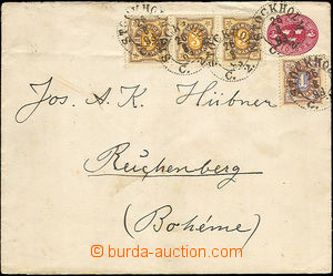43069 - 1893 postal stationery cover Mi.U9a with uprated by. to Czec
