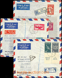 43076 - 1950-51 comp. 3 pcs of Reg and airmail letter (1x Reg and Ex