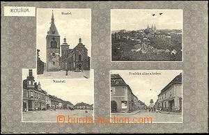 43102 - 1916 Kouřim,  B/W 4-view postcard, used, preserved