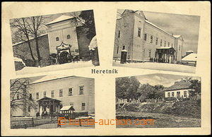 43108 - 1924 Heretník,  B/W 4-view, i.a. 2x barracks, used, unstuck