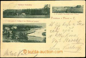 43111 - 1901 PLANÁ N. L. - monochrome, 3-views, Oustrašice, Strkov a