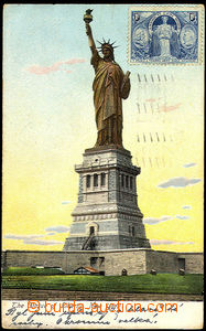 43117 - 1907 New York, statue freedom, color, mounted label 1ct Amer