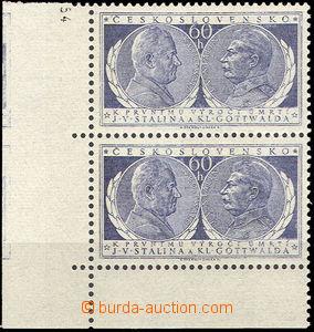 43120 - 1954 Pof.773, Výročí úmrtí, svislá rohová 2-páska s