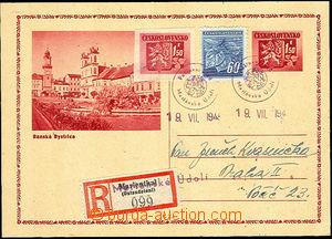 43123 - 1945 CDV75 zaslaná jako R s dofr. známkami Pof.365 + 367,