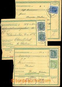 43128 - 1918 3x větší díl poštovní poukázky, 1x německo - česká muta
