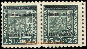 43134 - 1939 Pof.4 Znak s přetiskem, vodorovná 2-páska s DV chyb�