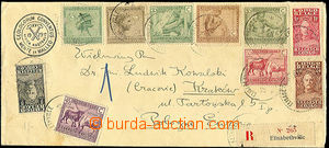 43168 - 1929 Reg letter to Poland, richly franked with. 10 pcs of va