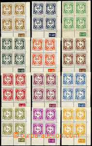 43213 - 1941 Pof.SL1-12 Official I., L blocks of four with plate num