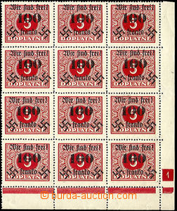 43247 - 1938 Rumburk  corner blk-of-12 Postage due stamp 5h with ove