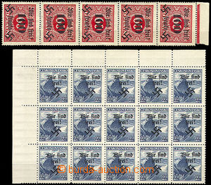 43248 - 1938 Rumburk  corner blk-of-15 stmp with overprint 2,50CZK S