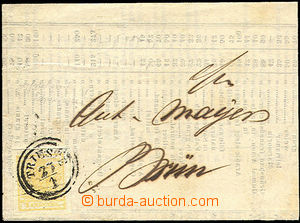 43252 - 1850 1850 folded letter with Mi. #1 type l with offset ., cn