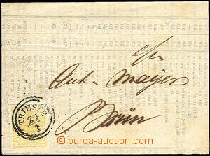 43252 - 1850 skládaný dopis vyfr. zn. I.emise 1Kr, Mi.1, I.typ s a