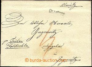 43262 - 1825 skládaný dopis s řádkovým raz. OLMÜTZ, červenou