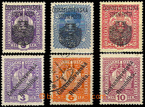 43323 - 1918 Pof.RV22, RV29, RV36, Prague overprint large emblem + 3