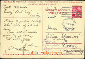 43327 - 1942 CDV13/II.díl used in in place, posting MC Prague 25/ 7
