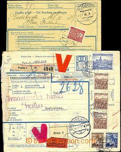 43331 - 1939 2ks balíkových průvodek, 1x mezinárodní s udanou c