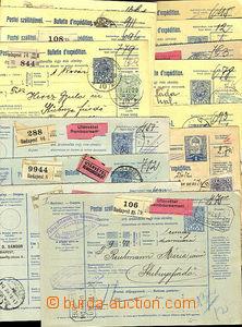 43337 - 1912-30 sestava 18ks pošt. průvodek z toho 4x celé, 14x d