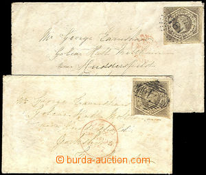43338 - 1857-58 comp. 2 pcs of franked with. letters stamp. 6p, Mi.1
