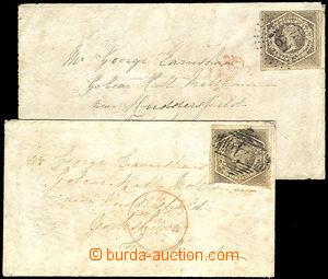 43338 - 1857-58 sestava 2ks vyfr. dopisů zn. 6p, Mi.17d, číslicov