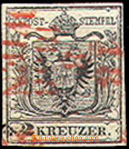 43348 - 1850 issue I 2 Kreuzer with red razítkem(!), Mi.2, type III,