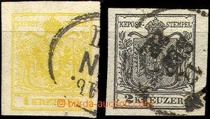 43352 - 1850 I.emise zn. 1 + 2Kr, Mi.1, 2, pěkné kusy, kat. Ferch.