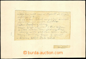 43361 - 1845 BOROVSKÝ K. H.  handwritten card from diary with signa