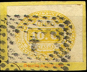 43416 - 1863 Mi.1 postage-due, imperforated on small cut-square, ove