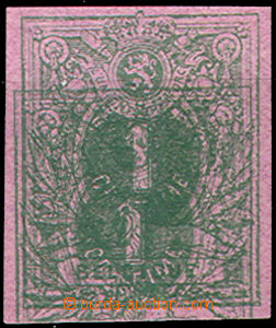 43417 - 1869? trial print 1C in/at green color on/for violet paper,
