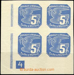43454 - 1939 Pof.NV2  Novinové I., levý dolní rohový 4-blok s D�