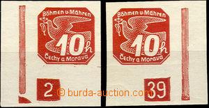 43457 - 1939 Pof.NV5 Holubice I.emise,  levý a pravý dolní roh s