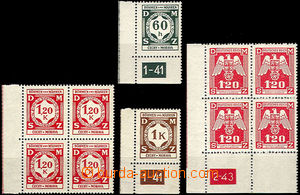43458 - 1941-43 Pof.SL7, 6, 4, 19,  selection of service stmp I and