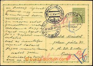 43472 - 1938 dopisnice CDV65 zaslaná na PP a dosílaná, DR Snina/