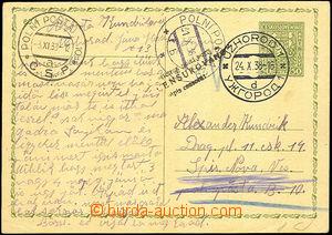 43473 - 1938 dopisnice CDV65 zaslaná na PP a dosílaná, DR Užhoro