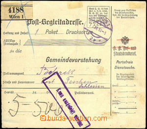 43476 - 1918 larger part of parcel card liberated from postage sent