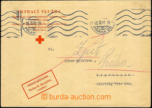 43480 - 1945 TRACING SERVICE  official envelope search service Red C