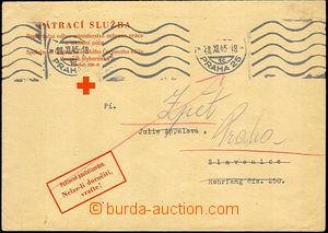 43480 - 1945 PÁTRACÍ SLUŽBA  oficiální obálka pátrací služby ČK po o