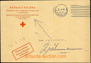 43481 - 1945 TRACING SERVICE  official envelope search service Red C