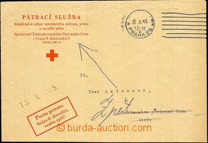 43481 - 1945 PÁTRACÍ SLUŽBA  oficiální obálka pátrací služby ČK po o