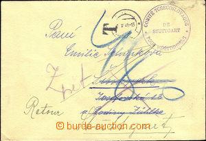 43483 - 1945 dopis z Německa s razítkem Comité Tchecoslovaque de Stu