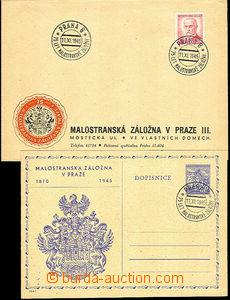 43488 - 1945 dopisnice s přítiskem a obálka s označením s PR Pr